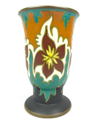 Gouda Pottery Vase / Pot / Art Deco 1925 / Turquoise / Orange / Brown / Antique